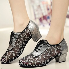 Women's Lace Flats Sneakers Practice With Lace-up Dance Shoes