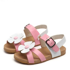 Jentas Titte Tå Leather flat Heel Sandaler Flate sko Flower Girl Shoes med Blomst