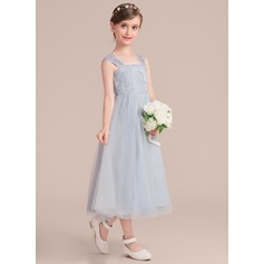 Tea-length Flower Girl Dress - Tulle Lace Sleeveless Square Neckline (269208413)