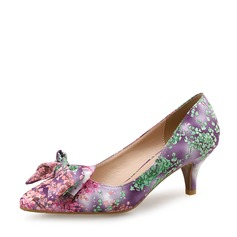 Women's Stiletto Heel Pumps Closed Toe With Bowknot Satin Flower shoes