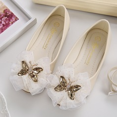 Girl's Leatherette Flat Heel Closed Toe Flats With Rhinestone Satin Flower