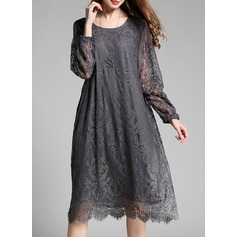 Lace With Lace Knee Length Dress (199135710)