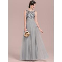 A-Line/Princess Scoop Neck Floor-Length Tulle Sequined Bridesmaid Dress With Ruffle