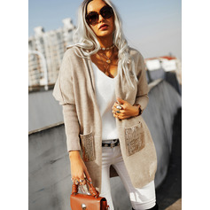Hooded Long Sleeves Solid Pocket Casual Cardigans (1002265159)
