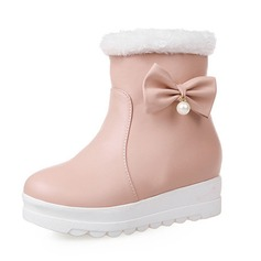 Women's Leatherette Flat Heel Pumps Closed Toe Boots Ankle Boots Snow Boots With Bowknot shoes