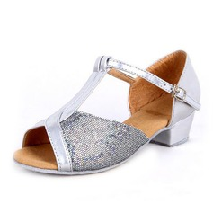 Women's Kids' Leatherette Sparkling Glitter Heels Sandals Latin With T-Strap Dance Shoes
