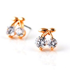 Lovely Gold Plated Zircon Girls' Fashion Earrings