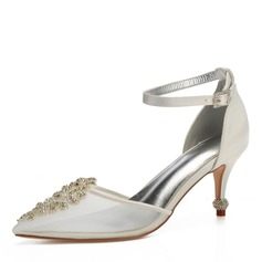 Women's Mesh Flat Heel Closed Toe Pumps With Crystal Heel Crystal