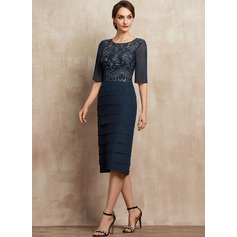 Sheath/Column Scoop Neck Knee-Length Chiffon Lace Cocktail Dress With Sequins Cascading Ruffles