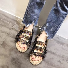 Women's Real Leather Flat Heel Sandals Flats Peep Toe With Crystal Beading Sequin Stitching Lace Tassel Velcro shoes (087122312)