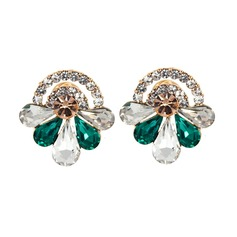 Shining Alloy Rhinestones Glass Fashion Earrings