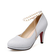 Women's Sparkling Glitter Chunky Heel Pumps With Imitation Pearl Sparkling Glitter shoes