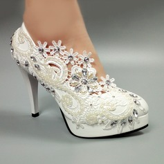 Women's Patent Leather Cone Heel Closed Toe Pumps With Imitation Pearl Rhinestone Stitching Lace Flower