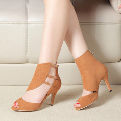 Women's Suede Boots Latin Modern Ballroom With Buckle Hollow-out Dance Shoes