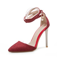 Women's Fabric Stiletto Heel Sandals Pumps Closed Toe With Imitation Pearl Buckle shoes