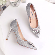 Women's Leatherette Sparkling Glitter Stiletto Heel Closed Toe Pumps With Sequin Crystal