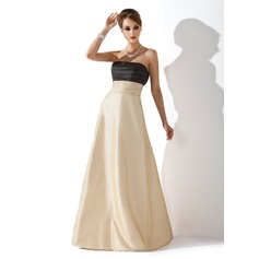 Empire Strapless Floor-Length Taffeta Bridesmaid Dress With Ruffle