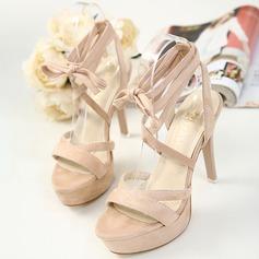 Women's Suede Stiletto Heel Pumps Platform With Lace-up shoes
