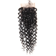 "4""*4"" 4A Non remy Kinky Curly Human Hair Closure (Sold in a single piece) 30g"