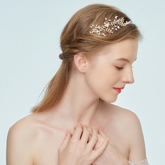 Ladies Fashion Alloy Headbands With Rhinestone/Venetian Pearl (Sold in single piece)
