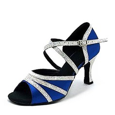 Women's Satin Sparkling Glitter Heels Latin Dance Shoes