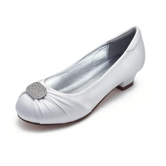Girl's Round Toe Closed Toe Mary Jane Silk Like Satin Low Heel Flower Girl Shoes With Rhinestone Ruched