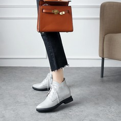 Women's Leatherette Chunky Heel Flats Boots Ankle Boots With Lace-up shoes