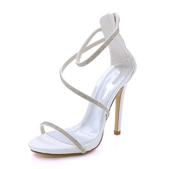 Women's Silk Like Satin Stiletto Heel Platform Pumps Sandals