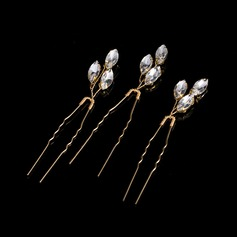 Ladies Beautiful Rhinestone/Alloy Hairpins (Set of 3)