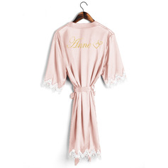 Personalized Charmeuse Bride Bridesmaid Mom Junior Bridesmaid Lace Robes Glitter Print Robes (248220052)