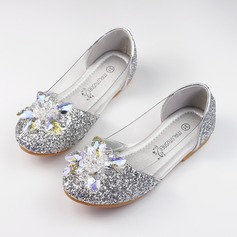 Girl's Closed Toe Sparkling Glitter Flat Heel Flats Flower Girl Shoes With Rhinestone Sparkling Glitter