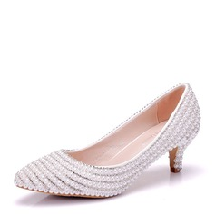 Women's Leatherette Kitten Heel Closed Toe Pumps With Imitation Pearl