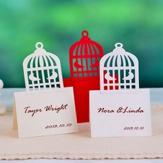 Pretty Birdcage Shaped Pearl Paper Place Cards