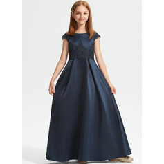 A-Line Scoop Neck Floor-Length Satin Lace Junior Bridesmaid Dress With Beading Sequins Bow(s)