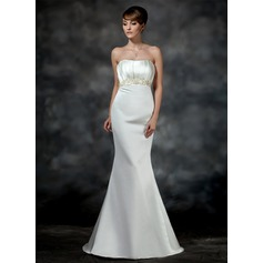 Trumpet/Mermaid Sweetheart Court Train Satin Wedding Dress With Ruffle Beading