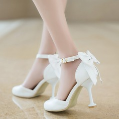 Women's Leatherette Stiletto Heel Closed Toe Pumps Sandals With Bowknot Buckle