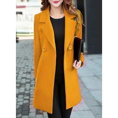 Cotton Long Sleeves Plain Slim Fit Coats Coats (1004162345)