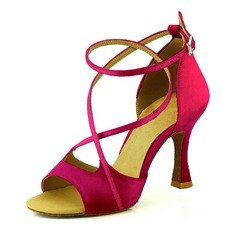 e06fc343ac3 Women s Satin Heels Sandals Pumps Latin Dance Shoes