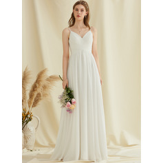 V-neck Floor-Length Chiffon Wedding Dress With Lace (265251215)