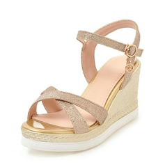 Women's Sparkling Glitter Wedge Heel Sandals Wedges Peep Toe Slingbacks With Buckle shoes (116155447)