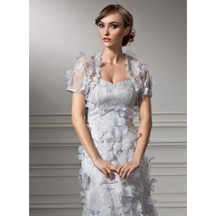 Short Sleeve Tulle Special Occasion Wrap