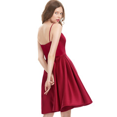 A-Line V-neck Knee-Length Satin Homecoming Dress (300244125)