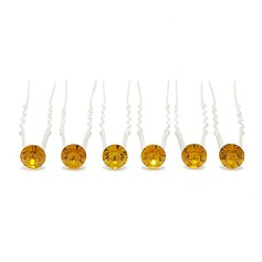 Fashion Rhinestone/Alloy Hairpins (Set of 6)