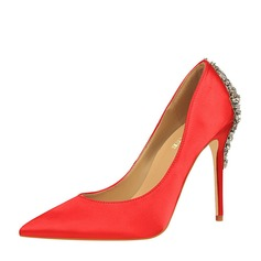 Women's Satin Stiletto Heel Pumps Closed Toe With Rhinestone Buckle shoes