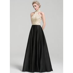 A-Line/Princess High Neck Floor-Length Satin Evening Dress With Beading Sequins