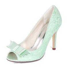Women's Lace Stiletto Heel Peep Toe Pumps With Bowknot