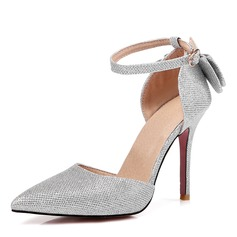 Women's Leatherette Stiletto Heel Pumps Closed Toe With Bowknot Sequin shoes