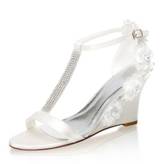 Women's Silk Like Satin Wedge Heel Peep Toe Wedges With Buckle Rhinestone Crystal Heel