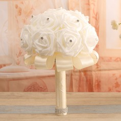 Gorgeous Round Satin Bridal Bouquets - (123118605)