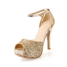 Women's Leatherette Stiletto Heel Peep Toe Platform With Buckle